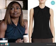 Daisy's black twist-neck top on Madam Secretary.  Outfit Details: http://wornontv.net/53480/ #MadamSecretary