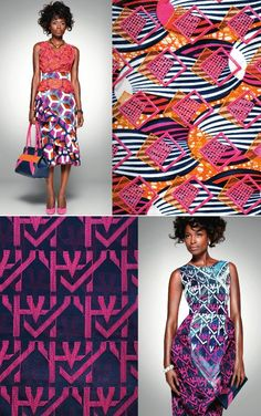 Stunning embroidered patterns over block prints. Vlisco's latest collection, Delicate Shades
