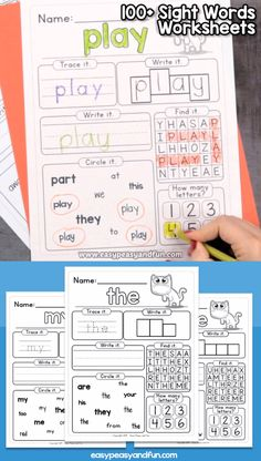 Kindergarten Sight Words Worksheets This set of worksheets includes 168 different words – a combination of kindergarten sight words as well as high frequency words that will allow you to build a set of worksheets that best suits your need. Teaching Sight Words, Sight Word Practice, Teaching Phonics, Sight Word Activities, Preschool Learning Activities, Homeschool Kindergarten, Preschool Worksheets, Preschool Sight Words, Sub Tub Kindergarten