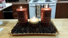 Candle in coffee beans.  It releases the aroma of the coffee while its burning!