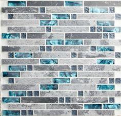 Interlocking glass mosaic blue shell mosaic grey stone marble blend glass mosaic SGMT026 kitchen backsplash tiles bathroom tiles-in Mosaics from Home Improvement on Aliexpress.com