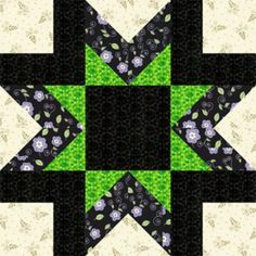 "Free Quilt Block Patterns, M through S: 12"" Morning Star Quilt Block Pattern"