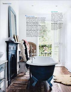 Bath and fireplace.