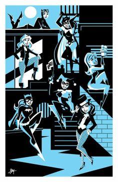 "comic-book-ladies: ""Gotham Ladies by Cal Slayton "" …Preeeetty sure I have this as a print."