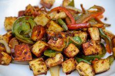 Indian Spiced Tofu (or Paneer) w/Peppers (vegan, gluten-free) - Vegetarian Gastronomy