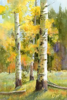 AnAspenADay | How aspens are painted in oil and watercolor - Modern Design Birch Trees Painting, Birch Tree Art, Tree Paintings, Watercolor Trees, Watercolor Landscape, Watercolor Paintings, Easy Landscape Paintings, Landscape Art, Landscapes