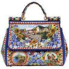 Dolce  amp  Gabbana Calf Leather  Sicily  Medium Tile Tote Bag Dolce Gabbana  ab6246fb1b1a6