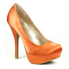 Orange Satin Fashion Round Toe Platform Pump   | eBay ❤ liked on Polyvore featuring shoes, pumps, round toe shoes, orange shoes, satin pumps, satin shoes and orange pumps