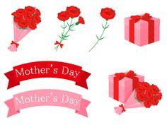 カーネーションの花束やギフトボックス、リボンなど母の日モチーフの無料イラストセット