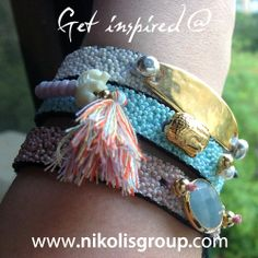 Dare to wear them all! find all the materials to make these beautiful bracelets @ www.nikolisgroup.com