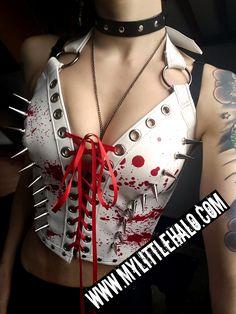 Blood Splats & Spikes Leather Bustier - My Little Halo http://mylittlehalo.com/