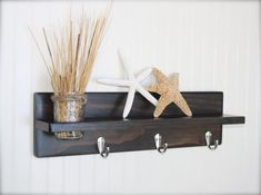"20"" Wall Shelf with Hooks and Mason Jar Vase by kateandcass, $34.00  Cute and functional wall shelf stained in your choice of color with hooks.  Rustic home wood decor at www.kateandcass.etsy.com"