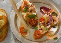 Caribbean Shrimp Bruschetta -- a perfect Mrs. Dash recipe - mrsdash.com #saltsubstitute #nosalt #bruschetta