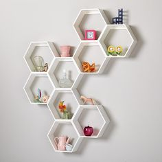 Honeycomb Wall Shelf (Grey) in Shelf & Wall Storage   The Land of Nod