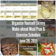 Organize Yourself Skinny Make-ahead meal plan and exercise schedule week of June 29th, 2015