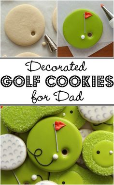 How to make cute and easy decorated Golf Cookies for Father's Day Cookie decorating Golf Cookies, Fancy Cookies, Iced Cookies, Cut Out Cookies, Cute Cookies, Royal Icing Cookies, Cookies Et Biscuits, Cupcake Cookies, Cookie Favors