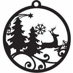 Silhouette Design Store: winter forest tag