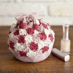 Crochet Flats, Crochet Brooch, Diy Crochet, Crochet Earrings, Crochet Handbags, Crochet Purses, Crochet Drawstring Bag, Handmade Purses, Crochet Patterns Amigurumi