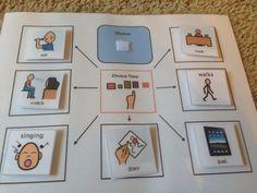 Visial schedule choice board Special needs special education teacher Autism ADHD PEC boardmaker symbols