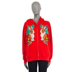 Gucci Overzied Red Zipper Hoddie With Rabbit-Embroidery Red Sweaters, Cable Knit Sweaters, Floral Sweater, Street Chic, Black Cotton, Hooded Sweatshirts, Rabbit, Gucci, Zipper