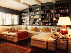 Sofas And Bookcase Ideas In Cozy Living Room Design With Mixture Classic And Modern Styles home trends design photos, home design picture at Home Design and Home Interior Cozy Living Rooms, Home Living Room, Living Room Designs, Living Spaces, Small Living, Apartment Living, Modern Living, Living Area, Urban Deco