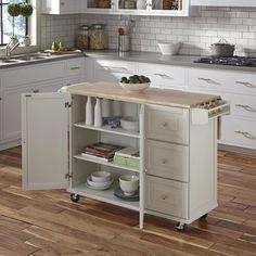 Kuhnhenn Kitchen Cart with Wood Top & Reviews | Birch Lane White Kitchen Cart, Kitchen Island On Wheels, New Kitchen, Kitchen Dining, Kitchen Ideas, Natural Kitchen, Kitchen Inspiration, Kitchen Designs, Natural Wood