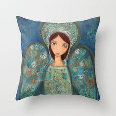 Angel Azul by Flor larios Throw Pillow by Flor Larios Art - $20.00