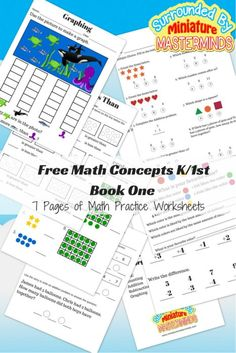 #Free Math Concepts K/1st Book One 7 Pages of Math Practice Worksheets