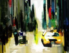 New York Poster, grafika komputerowa, graphic design, city, street, yellow cab.