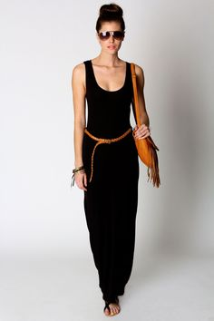 Just seen sandals - Laura Racer Back Maxi Dress-Tan belt and bag - Casual Chic Black Women Fashion, Love Fashion, Fashion Outfits, Womens Fashion, Fashion Trends, Fashion Sale, Dress Fashion, Fashion Clothes, Casual Chic