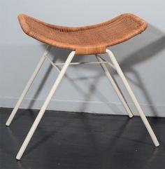 Enameled Metal and Rotin Stool, Ottoman, Wicker Furniture, Mid Century Design, Driftwood, Stools, Cheers, Joseph, 1950s, Designers