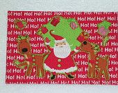 Christmas   Quilted Appliqued Fabric Postcard   A small gift in a card.