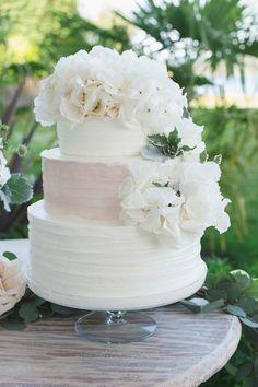 Classic white buttercream wedding cake