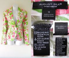 2000's AUGUST SILK Pink Green Summer Floral Flower Printed Fitted Blazer Jacket Coat Ladies 12