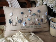 Sewing Pillows My Winter Garden Pillow (Cottage Style) - This winter-themed hand-made muslin needlework pillow is perfect for winter decor and fans of snow and the cold! Christmas Sewing, Christmas Crafts, Winter Thema, Sewing Crafts, Sewing Projects, Christmas Cushions, Sewing Pillows, Unique Christmas Gifts, Wool Applique