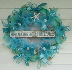 Beach Wreath Mermaid Wreath Seashell Wreath by DeliaKateDesigns