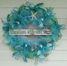 Beach Wreath Mermaid Wreath Seashell Wreath by DeliaKateDesigns