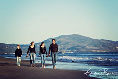 Family walking on beach, family photos on beach, blue ocean, santa barbara family photos