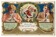 Santa Claus Hurry Up: Make up your minds! Lovers, Ring, Postcard 1908 | eBay