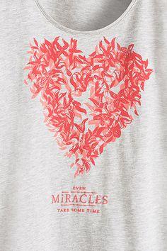 EDC / T-shirt en jersey chiné imprimé