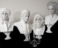 Learn how to dress as bust statues of composers. These unique costumes were created for an appearance on the Martha Stewart show.
