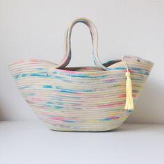 Gemma Patford, Image of Handmade, hand painted, rainblow rope market basket