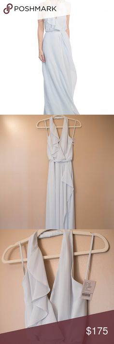NEW Nouvelle Amsale Long Halter Dress Never Worn New With Tags. Bought from Bella Bridesmaid with no alterations. Size Small. Fabric is Poly Chiffon. Color is Cloud. nouvelle AMSALE Dresses Wedding