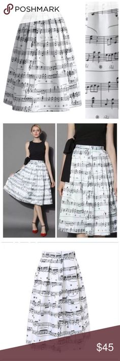 White & Black Music Note Pleated Midi Skirt OS ‼️ PRICE FIRM UNLESS BUNDLED WITH OTHER ITEMS FROM MY CLOSET ‼️    Music Note Skirt Size One Size  Retail $99     SPECTACULAR! Words can not describe how beautiful this skirt is. One size, waistband stretches to fit your waist. Side Zip. Half lined for the full feminine look. 100% polyester with a spandex elastic waistband in the back. Please check my store for thousands more items including designer clothing, scarves, jewelry, handbags, shoes…