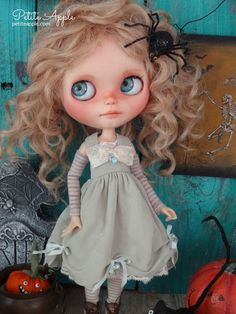 Blythe doll OOAK outfit *Burning sage* pure silk vintage dress by Petite Apple