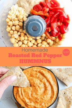 Homemade Roasted Red Pepper Hummus - Pinch Me Good - - Homemade Roasted Red Pepper Hummus – Pinch Me Good Party-Snacks Hausgemachte geröstete rote Pfeffer Hummus – PINCH ME GOOD! Whole Food Recipes, Vegan Recipes, Cooking Recipes, Vegan Appetizers, Appetizer Recipes, Paprika Hummus, Smoked Paprika, Snacks Für Party, Food Processor Recipes