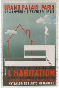 Original vintage poster ART DECO ARCHITECTURE EXPO PARIS 1938  #ArtDeco