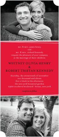 String Bow - Signature White Wedding Invitations - Magnolia Press - Chartreuse - Green : Front