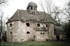 Ruins of an abandoned Gothic church from the fifteenth century in Gebice