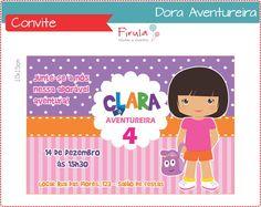 Dora Aventureira - Aventura e diversão na sua festa!!!    Convite digital personalizado, tamanho 10x15cm ou 9x13cm.  Versão para imprimir ou enviar por e-mail.